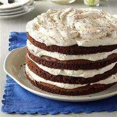 Chocolate Bavarian Torte Recipe from Taste of Home - Desserts - Bu Vizyon Make Ahead Desserts, Just Desserts, Delicious Desserts, Baking Recipes, Cake Recipes, Dessert Recipes, Cheese Recipes, Baking Tips, Torte Au Chocolat