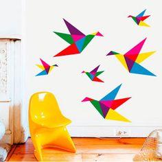 origami bird stickers