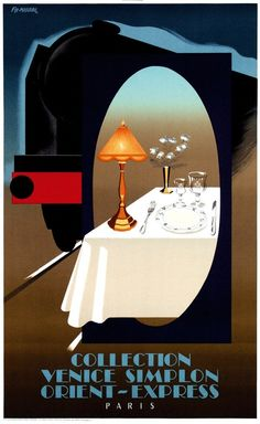 Collection Venice Simplon Orient-Express poster by Fix masseau Pierre Poster Retro, Art Deco Posters, Poster Ads, Vintage Travel Posters, Train Posters, Railway Posters, Vintage Advertisements, Vintage Ads, Orient Express Train