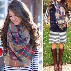 ✨❤️Get the look with our Pretty In Plaid Blanket Scarf!❤️✨ Only $32.00 Measures approx. 57 x 57 in.  Pre-Order yours now under Accessories at: ✨www.PSiLoveYouMoreBoutique.com✨or Comment or direct message your email & state for an invoice.