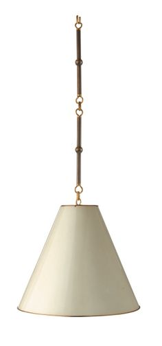 Goodman Small Hanging Light in Bronze and Antique Brass with Antique White Shade, $735