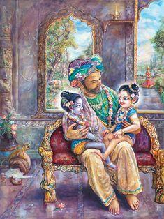 Krishna and Balaram sit on Nanda's Lap