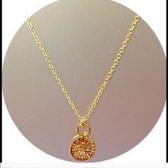 """✨ 18K GOLD PLATED SAND DOLLAR CHARM NECKLACE Beautiful Sand Dollar Charm Necklace. Charm is 18K gold plated on Brass . Chain length is 16"""" plus 2"""" extension. Lobster claw clasp. A stunning Jessica Elliot piece. For size reference, I have taken a picture of it next to a quarter. See photo. Perfect gift!  Comes in its own gift box. Made in the USA 🇺🇸 THIS LISTING IS AVAILABLE TO PURCHASE. Jessica Elliot Jewelry Necklaces"""