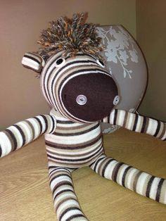 Handmade Sock Animal - Zebra on Etsy, £10.00