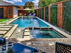 Riverbend Sandler Pools offers Geometric Pool Designs Dallas, Frisco and surrounding areas that homeowners can be proud of. Small Inground Pool, Small Backyard Pools, Pool House Designs, Backyard Patio Designs, Kleiner Pool Design, Pools For Small Yards, Small Pool Design, Swimming Pool Landscaping, Modern Pools