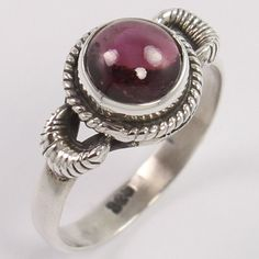 925 Sterling Silver Handcrafted Ring Size US 5.75 Natural GARNET Round Gemstone #Unbranded