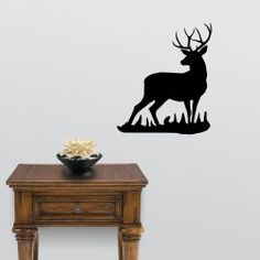 The Mule Deer Buck Big Game Wall Decal will look great in that man cave, cabin, garage or any room in your home decorated with an outdoor theme. Wall Sticker, Wall Decals, Mule Deer Buck, Deer Silhouette, Moose Art