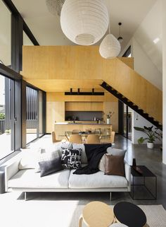 The Binary House project began as a yellow brick bungalow in Woolooware, Sydney, Australia, that was transformed by Christopher Polly Architect to include a dramatic, pavilion-like addition in the back. Loft Interior, Interior Exterior, Interior Architecture, Architecture Awards, Residential Architecture, Interior Design Examples, Interior Design Inspiration, Home Design, 3d Design