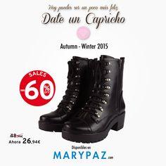 ¡ Date un capricho después de esta larga semana !  AHORA con las REBAJAS con hasta el 60% dto. en muchos de nuestros artículos en TIENDA y ONLINE www.marypaz.com  #rebajasmarypaz #shoponline #rebajas #upto60   Encuentra este BOTÍN DE TACÓN REBAJADO aquí ► http://www.marypaz.com/tienda-online/botin-de-tacon-y-plataforma-con-cordones-53172.html?sku=73031-35