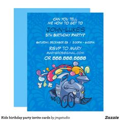 Kids birthday party invite cards