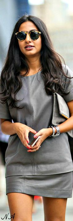 :this grey leather ensemble has my name written all over it: