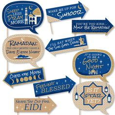 Funny Ramadan - Eid Mubarak Photo Booth Props Kit - 10 Piece Big Dot of Happiness Ramadan Photos, Eid Photos, Eid Mubarak Stickers, Eid Stickers, Iftar Party, Eid Party, Ramadan Activities, Party Activities, Eid Mubarak Photo