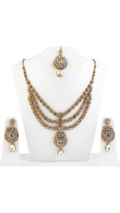 Kundan Party Wear Designer Bollywood Indian Strand Most Beautiful Necklace Set #natural_gems15