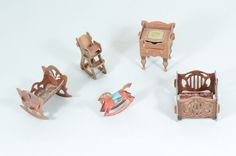 Dollhouse miniature Furniture 1:12 manege, cot, high chair, rocking horse /274