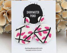 Statement Earrings, Dangle Earrings, Have Metal, Color Pop, Colour, Polymer Clay Earrings, Designer Earrings, Pink Lace, Beautiful Earrings