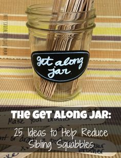 The Get Along Jar: 25 Ideas to Help Reduce Sibling Squabbles Tired of kids fighting? Do you just feel like the referee in your house? Use the Get Along Jar to help kids become closer instead of fighting all the time! Bonding Activities, Activities For Kids, Therapy Activities, Therapy Ideas, Parenting Advice, Kids And Parenting, Peaceful Parenting, Parenting Styles, Consequence Jar