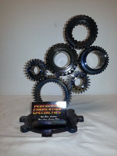 Industrial Inspired Metal Art Six Gears Business Card Holder by innovativedesignspec at etsy.com