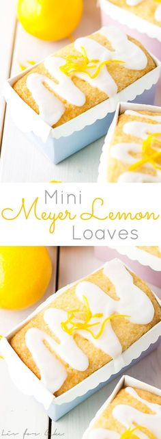 These mini Meyer Lemon Loaves are drenched in a sweet lemon syrup and topped with a sugary glaze.   livforcake.com