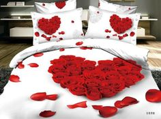 3D Red Rose petals comforter covers queen size 4pcs floral print girl ...