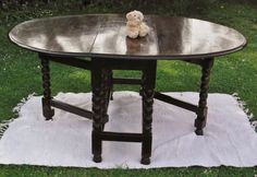 Antique Vintage Large Solid Oak Large Gateleg Drop Leaf Dining Table With Bobbin…