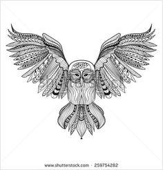 Zentangle Owl Template Zentangle Stylized Black Owl