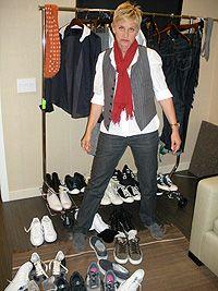 Do you think Ellen has her #Ellen's on?!! Ellen DeGeneres Wardrobe | Ellen's Wardrobe Features a Lorenzini Shirt | EllenTV.com
