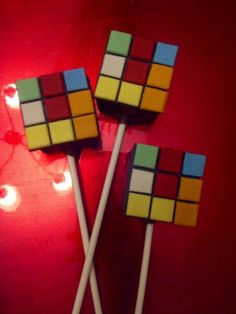 Rubik's cube cake pops made for our spring cake pop challenge. Ayoba.