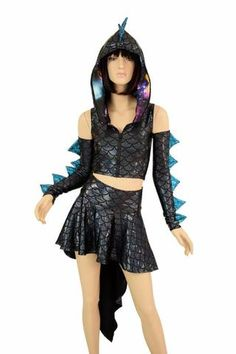 Long Pointy Hooded Dragon Dress – Coquetry Clothing New Outfits, Cool Outfits, Casual Outfits, Fashion Outfits, Dance Costumes, Cosplay Costumes, Dinosaur Dress, Galaxy Shoes, Dragon Tail