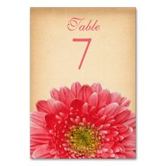 Rustic Coral Gerbera Daisy (Gerber Daisy) Wedding Table Card. Affordable wedding table cards.