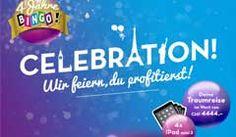 Gewinne mit Bingo Celebration 1 x 1 Reisegutschein im Wert von CHF 4'444.- , 4 x 1 iPad mini 3 16GB , sowie 48 Chat-Quizzes von Swisslos im Wert von je CHF 20.- Jetzt mitmachen und gewinnen: http://www.alle-schweizer-wettbewerbe.ch/bingo-celebration-gewinnspiel