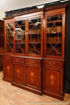 Photo of Regency Mahogany Breakfront Bookcase Sheraton Inlay Bookcases