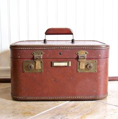 Vintage Leather and Brass Train / Over Night Travel Train Case My Grandmother's train case :)