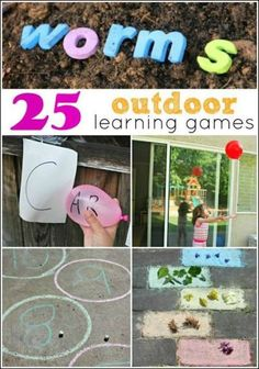 25 Outdoor Learning Games - designed to get kids moving and learning. Look how much you can learn outside!