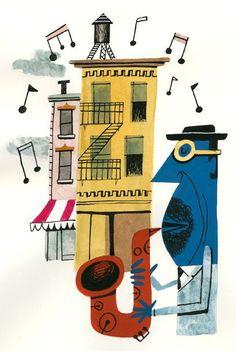 Get inspired by these mid-century lighting designs that were created as a tribute to jazz music. Vintage Illustration Art, Music Illustration, Jazz Art, Jazz Music, Jazz Poster, Retro Cartoons, Wow Art, Mid Century Art, Arte Pop