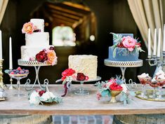 cake tables - photo by Ashley Slater Photography http://ruffledblog.com/a-southern-winter-wedding-with-jewel-tones