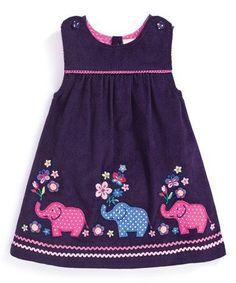 Look at this JoJo Maman Bébé Mulberry Elephant Appliqué Pinafore Dress - Infa. Baby Girl Dress Patterns, Baby Girl Dresses, Baby Dress, Little Girl Outfits, Cute Outfits For Kids, Little Girl Dresses, Toddler Dress, Toddler Outfits, Pinafore Dress