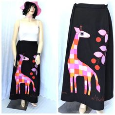 Wearable art Giraffe skirt size L / XL by SunnyBohoVintage on Etsy