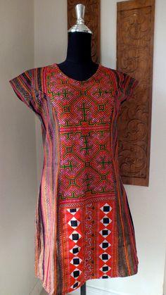 Shopthailand - handwoven cotton dress, Vintage Hmong cross stitch textiles