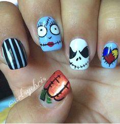 Freehand Halloween nail art by Christine (artsychris) Instagram