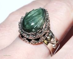 (SOLD)Artisan crafted Siberian Seraphinite gemstone by RetroRecyclables, $60.00
