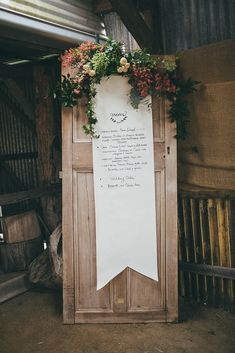 Since food and drinks are such a crucial aspect of a wedding's success, why not top it off with a thoughtful presentation? Turning an old door into a life-size menu is a budget-friendly and beautiful solution! Photo by Artography via Style Me Pretty