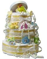 Hat Box Diaper Cake - Picture tutorial.  This cake is made with a round hat box in the center of each layer.
