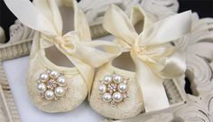 Baby girl ivory Shoes ,Baby Shoes,Baby Girl crib shoes, Christening, Baptism, Wedding, Ready to ship newborn baby girls shoes beige by IzabellaBABY on Etsy https://www.etsy.com/listing/200200985/baby-girl-ivory-shoes-baby-shoesbaby