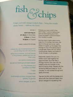 Fish and chips slimming world Slimming World Recipes Extra Easy, Slimming World Chicken Dishes, Slimming World Dinners, Healthy Eats, Healthy Foods, Healthy Recipes, Fish Recipes, Cheap Meal Plans