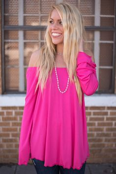 Piko long sleeve off shoulder top hot pink from Lush Fashion Lounge