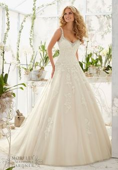 Mori Lee Bridal SPRING 2016 Collection: 2811 - Crystal Beaded Edging Meets the Alencon Lace Appliques on the Tulle Ball Gown