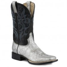 Stetson Cowgirl Boots Womens Lazer Cut Black Crackle Leather w ...