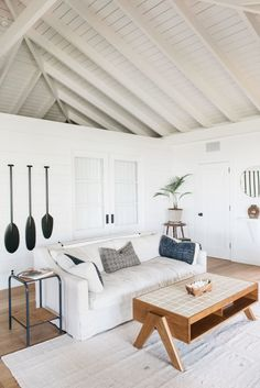 A Vintage Hawaiian Beach Cottage, Restored and Ready for Relaxation – Remodelista Roberto Sosa Beach House Living Area/ exposed beam, … Interior, Cottage Style, Coastal Living Room, Beach House Decor, House Styles, Home Decor, House Interior, Coastal Living Rooms, Interior Design