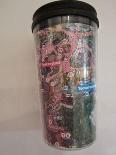 A Disney Mom: DIY: Easy $1 Disneyland Souvenir; DIY Disney parks map coffee cup Disney Park Maps, Disney Map, Disney World Map, Disneyland Map, Disney Pins, Disney Cruise, Disney Stuff, Disney Vacations, World Map Crafts