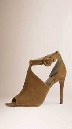 Peep-Toe Suede Ankle Boots